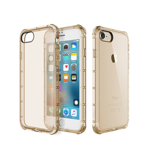 Rock for iPhone 7 Fence Series Drop Protection Case Transparent Soft TPU Air Sacs Shockproof Protective Back Case(Gold)