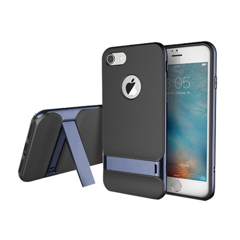 Rock Royce Stand Series for iPhone 7 Business Style TPU + PC Protective Case with Holder(Navy Blue)(Silver)
