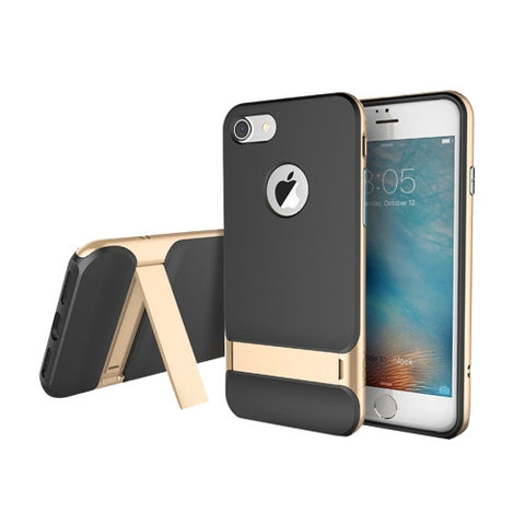 Rock Royce Stand Series for iPhone 7 Business Style TPU + PC Protective Case with Holder(Gold)