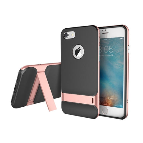 Rock Royce Stand Series for iPhone 7 Business Style TPU + PC Protective Case with Holder(Rose Gold)