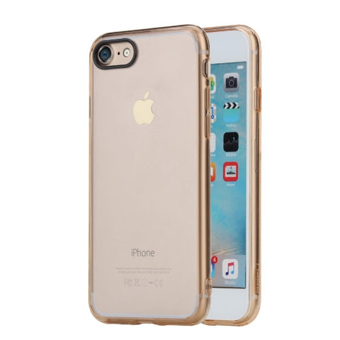 Rock for iPhone 7 Pure Series Concise Style Ultrathin Transparent TPU + PC Protective Back Case(Gold)