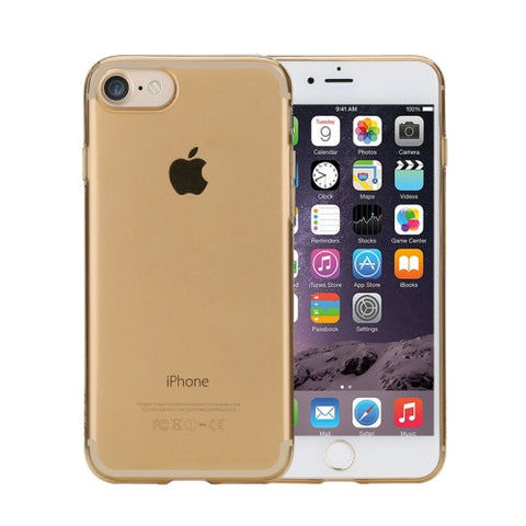 Rock for iPhone 7 Transparent Ultrathin Soft TPU Protective Back Case without USB Anti-Dust Plug(Gold)