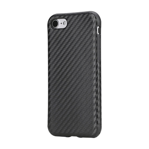 Rock for iPhone 7 Natural Series Artistic Carbon Fibre Texture PU + TPU Protective Back Case(Black)