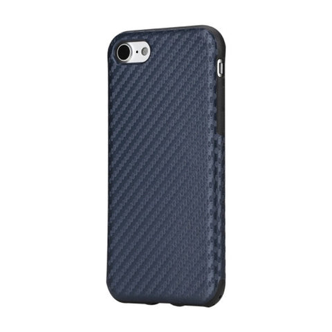 Rock for iPhone 7 Natural Series Artistic Carbon Fibre Texture PU + TPU Protective Back Case(Dark Blue)