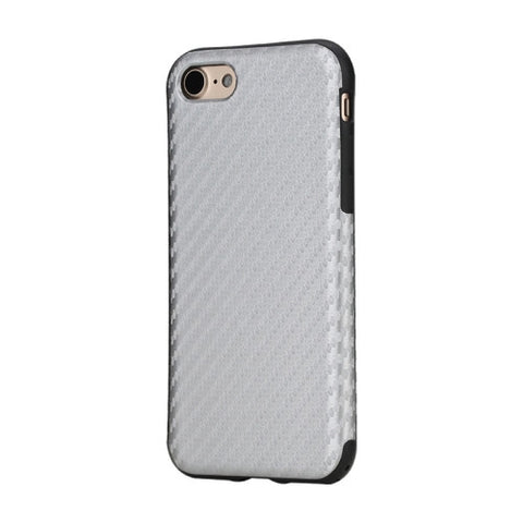 Rock for iPhone 7 Natural Series Artistic Carbon Fibre Texture PU + TPU Protective Back Case(Silver)