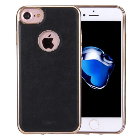 REMAX for iPhone 7 Shell Series PU Leather Protective Case(Black)