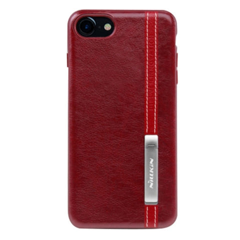 NILLKIN Phenom Case for iPhone 7 Business Style Leather Surface PC Protective Case Back Cover with Soft TPU Frame & Magnetic Meatl Holder(Red)