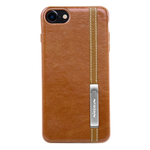 NILLKIN Phenom Case for iPhone 7 Business Style Leather Surface PC Protective Case Back Cover with Soft TPU Frame & Magnetic Meatl Holder(Brown)