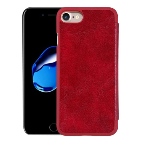 NILLKIN QIN Series For iPhone 7 Business Style Horizontal Flip Leather Case with Card Slot(Red)