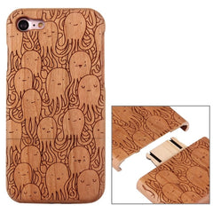 For iPhone 7 Artistic Octopus Pattern Separable Cherry Wood Protective Back Case Shell