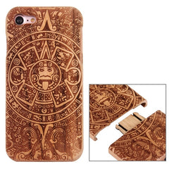 For iPhone 7 Artistic Mayan Pattern Separable Cherry Wood Protective Back Case Shell