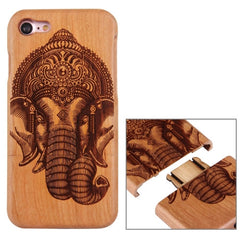 For iPhone 7 Artistic Indian Elephant Pattern Separable Cherry Wood Protective Back Case Shell