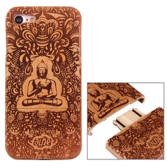 For iPhone 7 Artistic Buddha Pattern Separable Cherry Wood Protective Back Case Shell