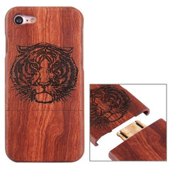 For iPhone 7 Artistic Tiger Head Pattern Separable Rosewood Protective Back Case Shell