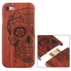 For iPhone 7 Artistic Half Skull Pattern Separable Rosewood Protective Back Case Shell