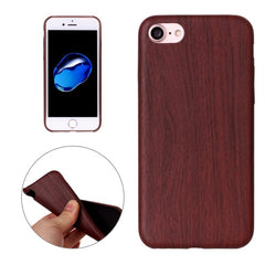 For iPhone 7 Hot Embossed Wood Texture PU Back Cover Case(Red)
