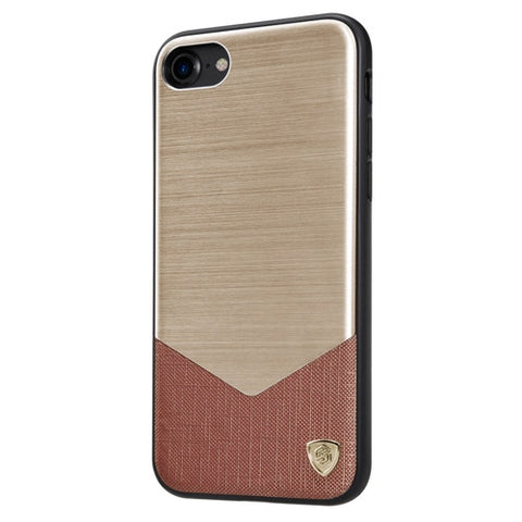 NILLKIN LENSEN CASE for iPhone 7 Business Style Brushed Texture Metal + Leather Surface PC Protective Case Back Cover with Soft TPU Frame (Gold)