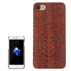 For iPhone 7 Constandine Pattern Carving Rosewood Wooden Protective Back Cover Case
