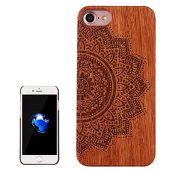 For iPhone 7 Half Flowers Pattern Carving Rosewood Wooden Protective Back Cover Case