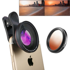 ZOMEI 3 in 1 Universal 4K 100 Degrees Wide Angle Lens + Gradual Orange Filter + Lens Clip for iPhone Samsung HTC Sony Huawei Xiaomi Meizu