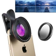 ZOMEI 3 in 1 Universal 4K 100 Degrees Wide Angle Lens + Gradual Grey Filter + Lens Clip for iPhone Samsung HTC Sony Huawei Xiaomi Meizu