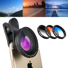 ZOMEI 5 in 1 Universal Lens Filter Kit( 4K 100 Degrees Wide Angle Lens + Gradual Grey + Gradual Blue + Gradual Orange) + Lens Clip for iPhone Samsung HTC Sony Huawei Xiaomi Meizu