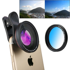 ZOMEI 3 in 1 Universal 4K 100 Degrees Wide Angle Lens + Gradual Blue Filter + Lens Clip for iPhone Samsung HTC Sony Huawei Xiaomi Meizu
