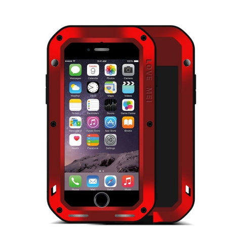 LOVE MEI for iPhone 7 Professional and Powerful Dustproof Shockproof Anti-slip Metal Protective Case(Red)