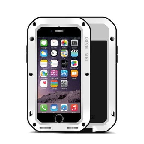 LOVE MEI for iPhone 7 Professional and Powerful Dustproof Shockproof Anti-slip Metal Protective Case(White)