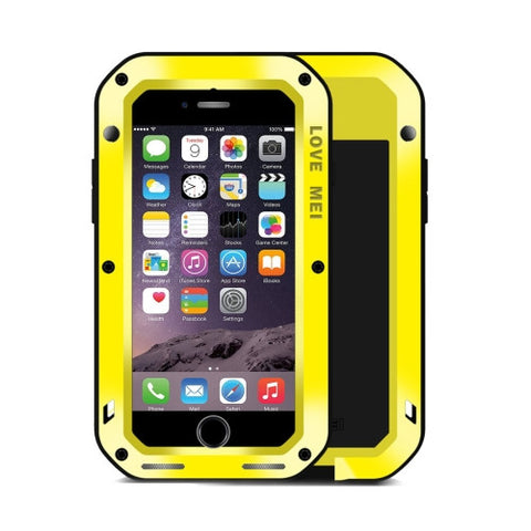 LOVE MEI for iPhone 7 Professional and Powerful Dustproof Shockproof Anti-slip Metal Protective Case(Yellow)