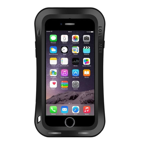 LOVE MEI for iPhone 7 Waistline Triobump Professional and Powerful Dustproof Shockproof Anti-slip Metal Protective Case(Black)