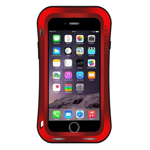 LOVE MEI for iPhone 7 Waistline Triobump Professional and Powerful Dustproof Shockproof Anti-slip Metal Protective Case(Red)