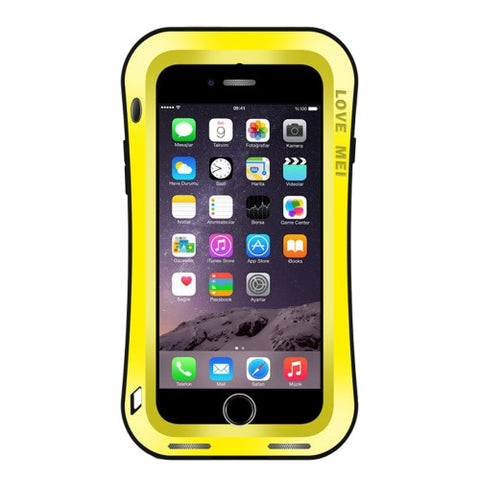 LOVE MEI for iPhone 7 Waistline Triobump Professional and Powerful Dustproof Shockproof Anti-slip Metal Protective Case(Yellow)