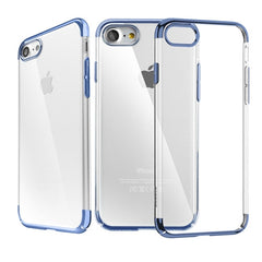 Baseus for iPhone 7 Fashion Glitter Case Electroplating Frame Transparent PC Protective Case(Dark Blue)