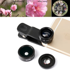 ZOMEI P1 3 in 1 Universal 0.36X Wide Angle Lens + 180 Degrees Fisheye Lens + Lens Clip for iPhone Samsung HTC Sony Huawei Xiaomi Meizu(Black)