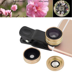 ZOMEI P1 3 in 1 Universal 0.36X Wide Angle Lens + 180 Degrees Fisheye Lens + Lens Clip for iPhone Samsung HTC Sony Huawei Xiaomi Meizu(Gold)