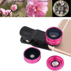 ZOMEI P1 3 in 1 Universal 0.36X Wide Angle Lens + 180 Degrees Fisheye Lens + Lens Clip for iPhone Samsung HTC Sony Huawei Xiaomi Meizu(Magenta)