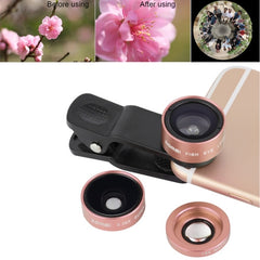 ZOMEI P1 3 in 1 Universal 0.36X Wide Angle Lens + 180 Degrees Fisheye Lens + Lens Clip for iPhone Samsung HTC Sony Huawei Xiaomi Meizu(Rose Gold)