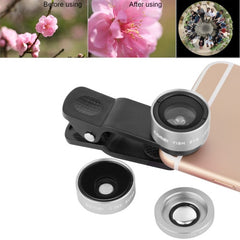 ZOMEI P1 3 in 1 Universal 0.36X Wide Angle Lens + 180 Degrees Fisheye Lens + Lens Clip for iPhone Samsung HTC Sony Huawei Xiaomi Meizu(Silver)