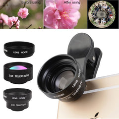 ZOMEI P2 5 in 1 Universal 0.36X Wide Angle Lens + 180 Degrees Fisheye Lens + 2.0X Telephoto Lens + Metal Lens Hood + 3 Lens Clips for iPhone Samsung HTC Sony Huawei Xiaomi Meizu