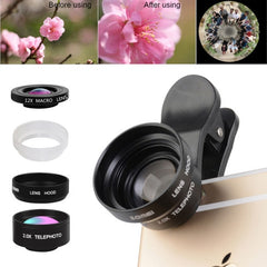 ZOMEI P3 5 in 1 Universal 0.36X Wide Angle Lens + 2.0X Telephoto Lens + Dual 6X & 12X Macro Lens Close-up Filter + Metal Lens Hood + 3 Lens Clips for iPhone Samsung HTC Sony Huawei Xiaomi Meizu
