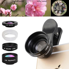 ZOMEI P4 5 in 1 Universal 0.36X Wide Angle Lens + 180 Degrees Fisheye Lens + Dual 6X & 12X Macro Lens Close-up Filter + Transparent Acrylic Lens Hood + 3 Lens Clips for iPhone Samsung HTC Sony Huawei Xiaomi Meizu