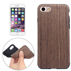 For iPhone 7 Black Rose Wood Grain Paste Skin Soft TPU Protective Case