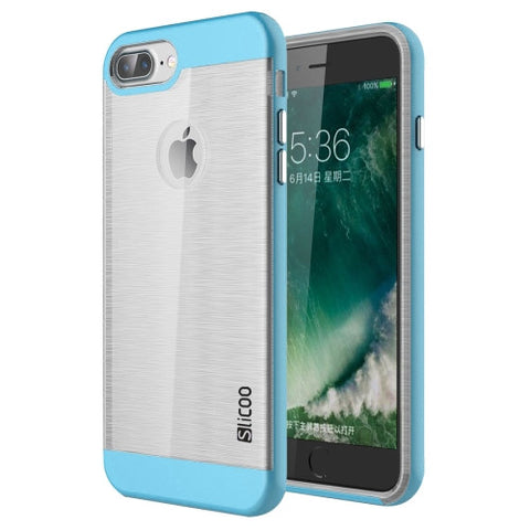 SLiCOO for iPhone 7 Plus Concise Fashion Separable Dichromatic Brushed Texture Transparent TPU + Electroplating PC Combination Case(Blue)