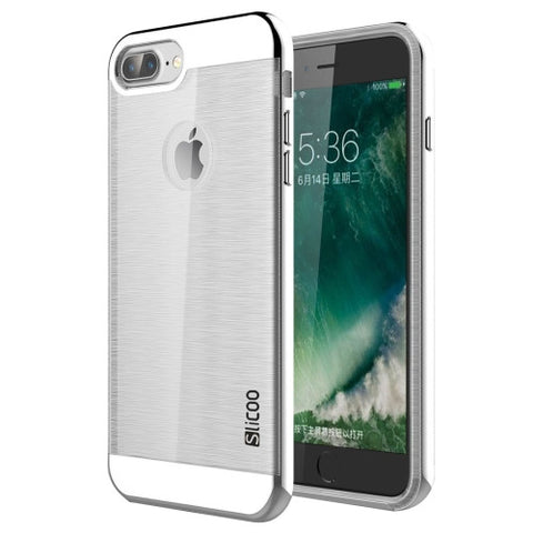 SLiCOO for iPhone 7 Plus Concise Fashion Separable Dichromatic Brushed Texture Transparent TPU + Electroplating PC Combination Case(Silver)
