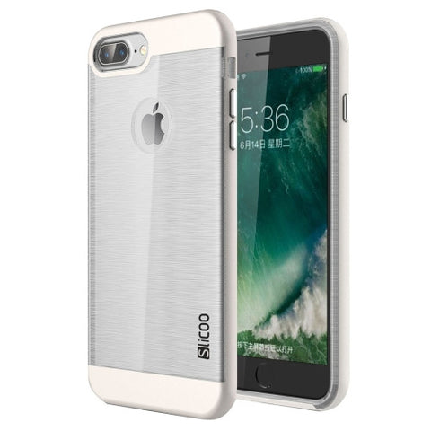 SLiCOO for iPhone 7 Plus Concise Fashion Separable Dichromatic Brushed Texture Transparent TPU + Electroplating PC Combination Case(White)