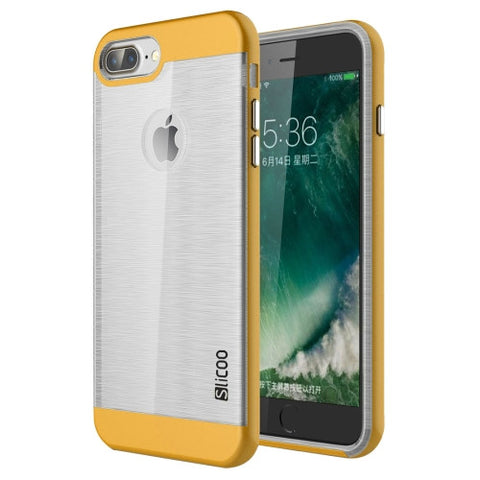 SLiCOO for iPhone 7 Plus Concise Fashion Separable Dichromatic Brushed Texture Transparent TPU + Electroplating PC Combination Case(Yellow)