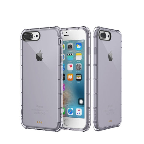 Rock for iPhone 7 Plus Fence Series Drop Protection Case Transparent Soft TPU Air Sacs Shockproof Protective Back Case(Black)