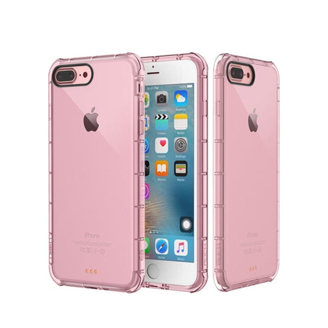 Rock for iPhone 7 Plus Fence Series Drop Protection Case Transparent Soft TPU Air Sacs Shockproof Protective Back Case(Pink)