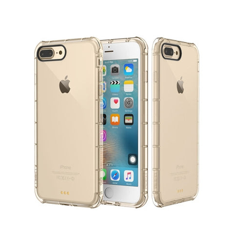 Rock for iPhone 7 Plus Fence Series Drop Protection Case Transparent Soft TPU Air Sacs Shockproof Protective Back Case(Gold)